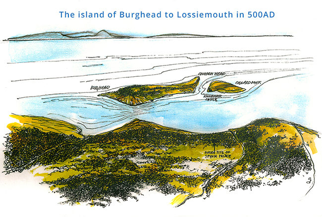 The island of Burghead to Lossiemouth in 500AD